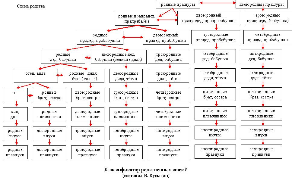 Родственные отношения кто кому приходится схема полная схема таблица